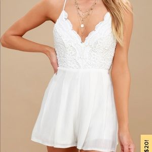 Backless ivory lace romper